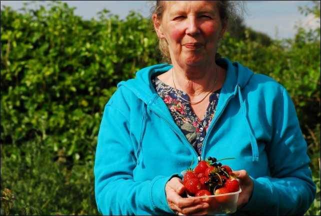 Gill with organic produce from the garden